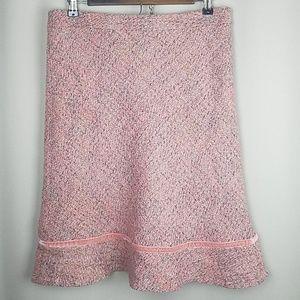 Gap Wool Blend Pink Tweed Skirt Velvet Trim Lined